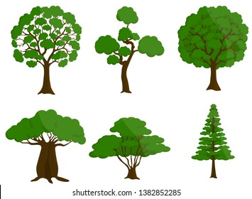 Set of trees vector illustrations. isolated on white.