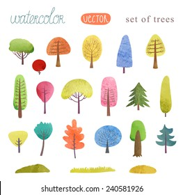 Set of trees watercolor vector