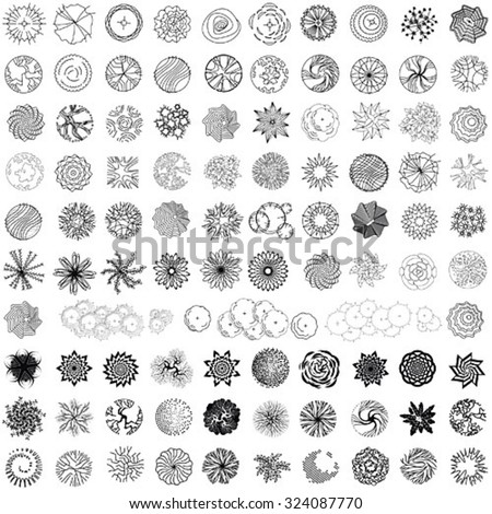 Set Treetop Symbols Architectural Landscape Design Stock Vector