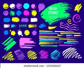Set trend stroke spot blod. Brush, pen, marker, chalk. Vector distressed grunge modern textured brush stroke. Dry brush. Neon color trendy style. Hand drawn vector.