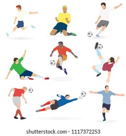 Set of trend vector illustration of soccer football players in many action (goal keeper, defender,midfield and striker). Picture on white background.
