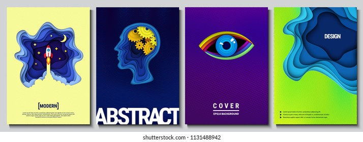 Set of trendy abstract backgrounds. Modern geometric gradients. Paper cut art. Template for banner, brochure, book cover, booklet and other design works. Vector illustration.