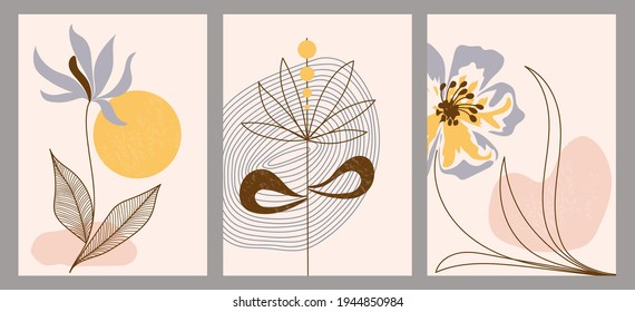 Set of trendy abstract creative hand painted minimalist illustrations. Wall art drawing with abstract shape. For postcard, poster, social media story design.
