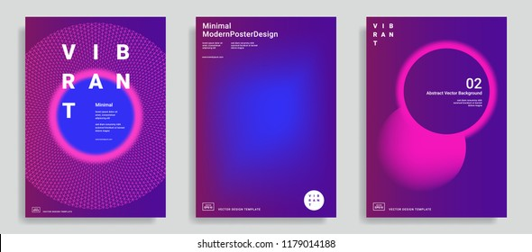 Set of trendy abstract design templates with vibrant gradient shapes. Bright colors. Applicable for covers, brochures, flyers, presentations, identity and banners. Vector illustration. Eps10