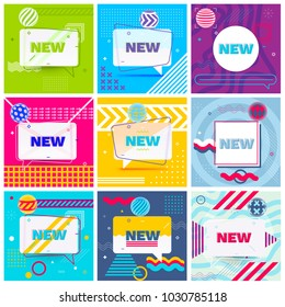 Set of Trendy Abstract Geometric New Vector Bubbles. Vivid Banner in Retro Poster Design Style. Vintage Colors and Shapes in Memphis Style