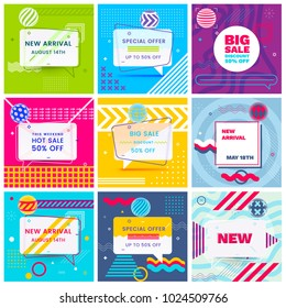 Set of Trendy Abstract Geometric Vector Bubbles. New Arrival, Big Sale and Special Offer. Vivid Banner in Retro Poster Design Style. Vintage Colors and Shapes in Memphis Style