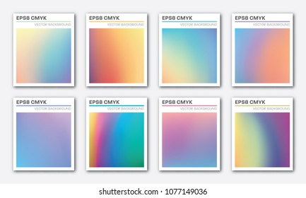 Set of trendy abstract holographic foil vector backgrounds, templates; EPS 8, CMYK; ready for printing. Good for business cards, brochures, posters, etc., and for WEB design.