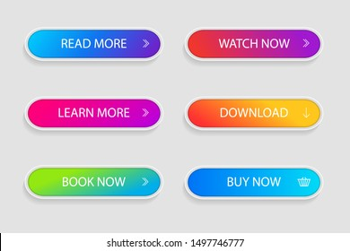 Set of trendy action button for web, mobile app.Template gradient navigation button menu.Gradient icon for shop, game, banner.Button collection. vector eps10