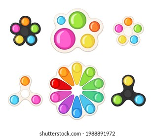 Set of Trendy antistress sensory toy Simple Dimple fidget in flat style isolated on white background.