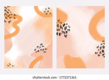 Set of trendy artsy watercolor backgrounds. Pink and orange tones. Resizable vector art of painterly watercolour backgrounds for social media, advertisements, party invitations, and more.