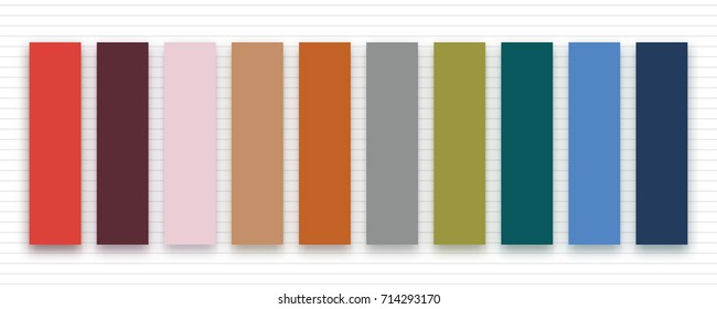 Set of trendy autumn fall colors for fashion industry. Vector color palette on striped background. Inspirational swatches for seasonal backgrounds, projects.