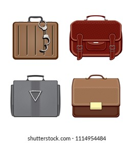 Set of trendy briefcases isolated on white background