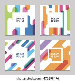set of trendy cards with bright seamless pattern