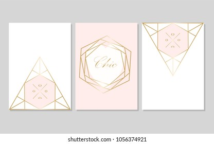 Set of Trendy Chic pastel colored cards with Gold geometric shapes. Abstract unusual textures for wedding invitation cards, business cards, fashion headers, posters, artistic backgrounds. Vector