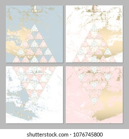 Set of Trendy Chic pastel colored cards with Gold geometric shapes. Abstract unusual worn textures for wedding invitation cards, business cards, fashion headers, posters, artistic backgrounds. Vector