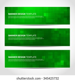 Set of trendy Christmas green vector banners template or website headers with abstract geometric background. Vector design illustration EPS10