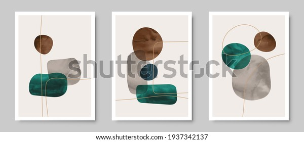 Set of trendy contemporary abstract creative hand painted compositions for wall decoration, postcard or brochure cover design in vintage style art.   EPS10 vector.