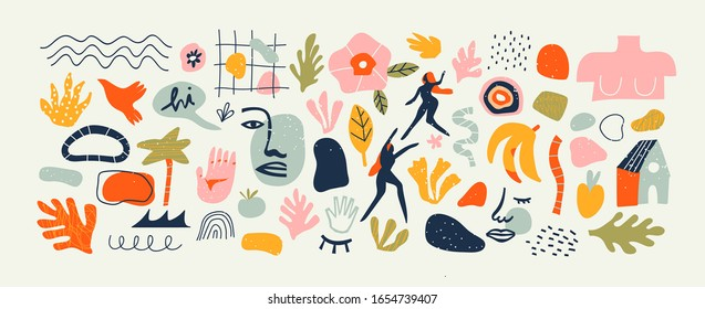 Set of trendy doodle shapes and abstract nature icons on isolated white background. Big summer collection, fashion elements in freehand childish cartoon style. Includes people, floral art and texture.
