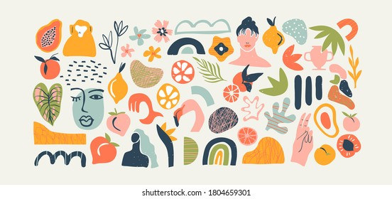 Set of trendy doodle and abstract nature icons on isolated white background. Big summer collection, random organic shapes in freehand matisse art style. Includes people, floral art, animal bundle.
