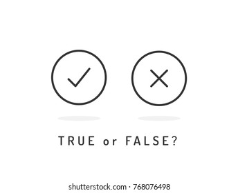 Set of trendy flat check mark and cross icons. True or false? Vector illustration isolated black and white.