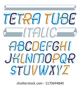 Set of trendy fun  vector capital English alphabet letters isolated. Special italic type font, script from a to z can be used for logo creation. Made with industrial 3d tetra tube design.