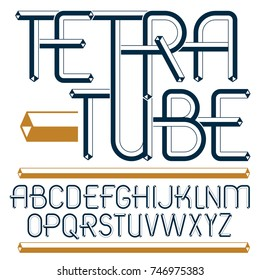 Set of trendy fun  vector capital English alphabet letters isolated. Special type font, script from a to z can be used for logo creation. Made with 3d tetra tube design, industry style.