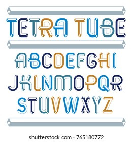 Set of trendy fun  vector capital English alphabet letters isolated. Special type font, script from a to z can be used for logo creation. Made using geometric tetra tube design.