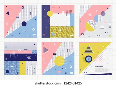 Set of trendy geometric elements memphis cards. Retro style texture, pattern and geometric elements. Modern abstract design poster, cover, card design.