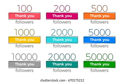 Set of trendy geometric Thank you followers banners with numbers. Vector design