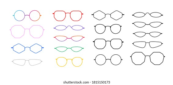 Set of trendy glasses frames with oval, round, polygonal shapes. Colourful plastic and simple black. Isolated on white. Without lenses. 2020 trend.