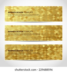 Set of trendy gold vector banners template or website headers with abstract geometric background. Vector design illustration EPS10