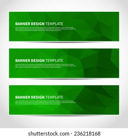 Set of trendy green eco vector banners template or website headers with abstract geometric background. Vector design illustration EPS10