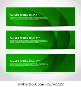 Set of trendy green lights vector banners template or website headers with abstract geometric background. Vector design illustration EPS10