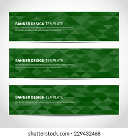 Set of trendy green vector banners template or website headers with abstract geometric background. Vector design illustration EPS10