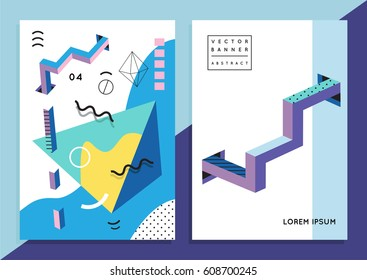 Set of trendy hipster posters or banners with abstract backgrounds in Memphis style, 80`s, with colorful geometric elements. Design layout for your invitation card, flyer, brochure, cover