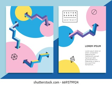 Set of trendy hipster posters or banners with abstract backgrounds in Memphis style, 80`s, 90`s, with colorful geometric elements. Design layout for your invitation card, flyer, brochure, advertising