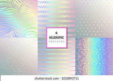 Set of trendy holographic textures for cover, brochure, flyer, poster, invitation, stylish design. Abstract dotted, striped, celebration confetti background. Vector illustration. Gradients, patterns.