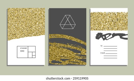 Set of trendy invitations with gold glitter texture. Wedding, marriage, bridal, birthday, Valentine's day. Isolated. Vector
