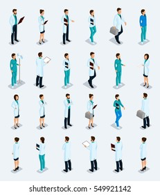 Set Trendy isometric people. Medical staff, hospital, doctor, nurse, surgeon. Physicians front view rear view, standing position isolated on a light background. Vector illustration.