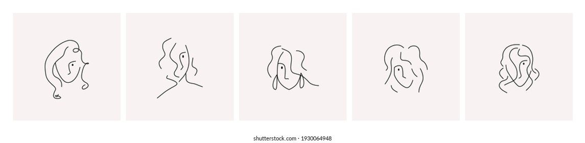 Set of trendy linear abstract woman faces or portraits. One or mono line style. Vector illustration, template, logo emblem design. Editable stroke.