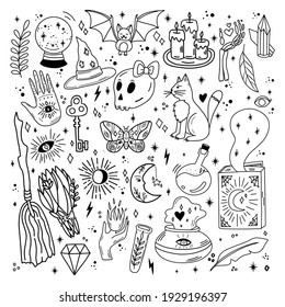 Set of trendy magic doodles in cute and playful colors. Witchcraft, moon spells, love potions, amulets and other cute details will be perfect for your project.
