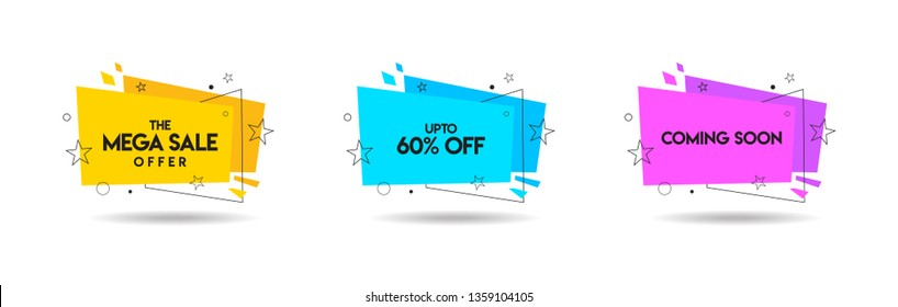 Set of trendy Mega Sale logo, Discount, and Coming Soon Unit, Vivid banners in retro poster design style. Fresh colours and shapes. Yellow, blue & pink - Vector, Icon, Label.