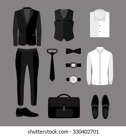 Set of trendy men's clothes and accessories. Men's wardrobe. Vector illustration
