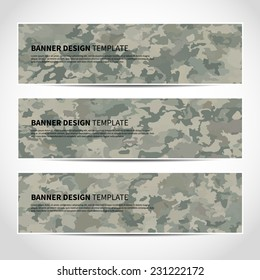 Set of trendy military vector banners template or website headers. Vector design illustration EPS10
