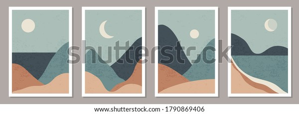 Set of trendy minimalist landscape abstract contemporary collages, mountains lake moon wall art poster design