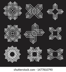 Set of Trendy Modern and Vintage Monoline Abstract Shape Patterns. Geometric symmetric patterns in art deco design.