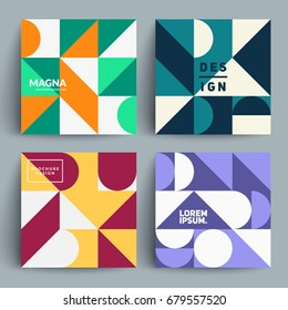 Set of trendy pattern cards. Minimal geometric design. Eps10 vector.