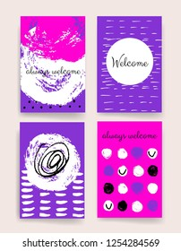 Set of Trendy Posters with hand drawn Background. Modern Hipster Style for Invitation, Business Contemporary Design. Hand Drawn Elements for Placards, Flyer