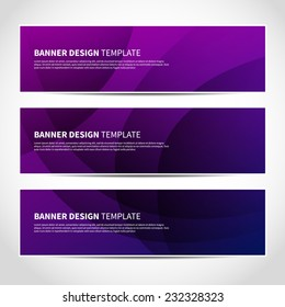 Set of trendy purple and blue vector banners template or website headers with abstract geometric background. Vector design illustration EPS10