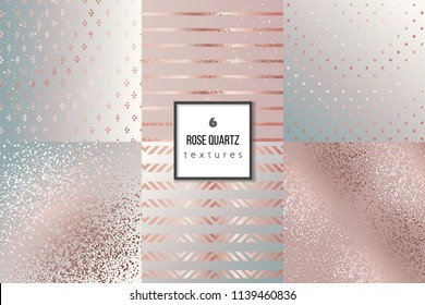 Set of trendy rose gold quartz textures for cover, brochure, flyer, poster, invitation, stylish design. Abstract dotted, striped, glitter, triangles background.Vector illustration. Gradients, patterns